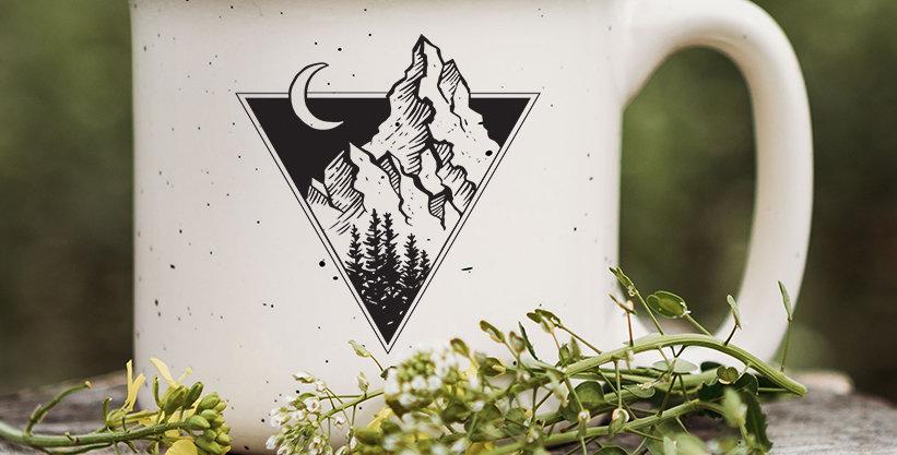 Triangle Mountains Speckled Campfire Mug