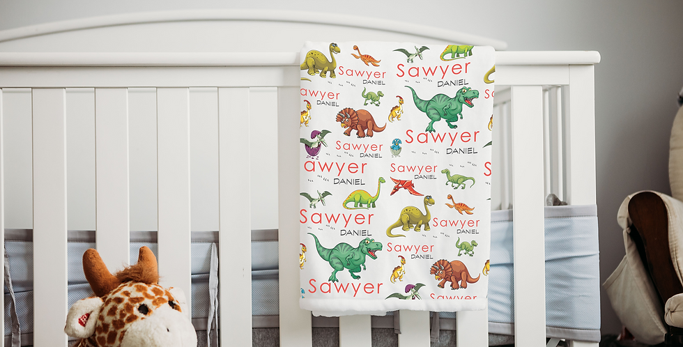 Custom Name Baby Blanket - Dinosaur