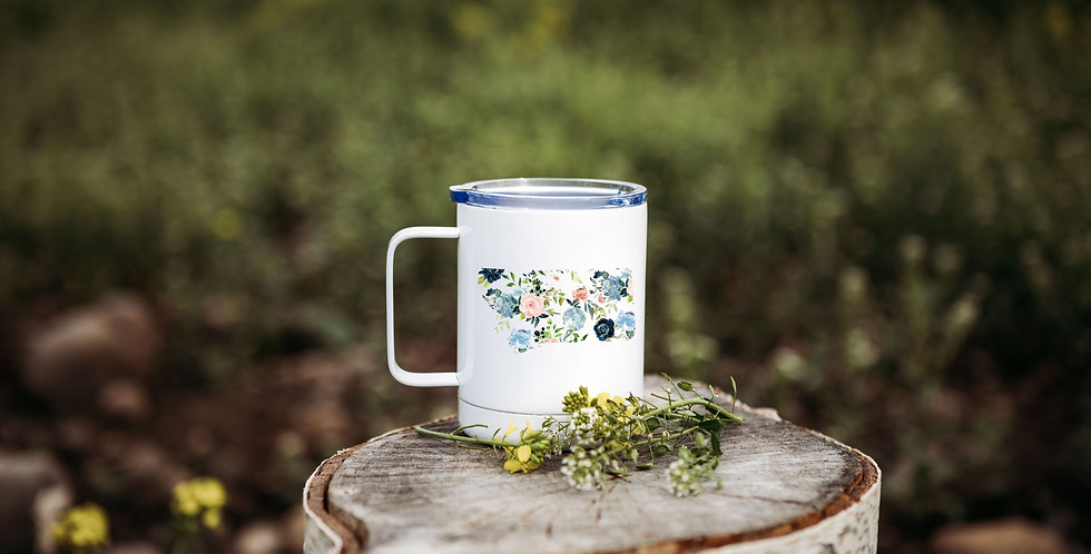 Floral Montana State Coffee Tumbler