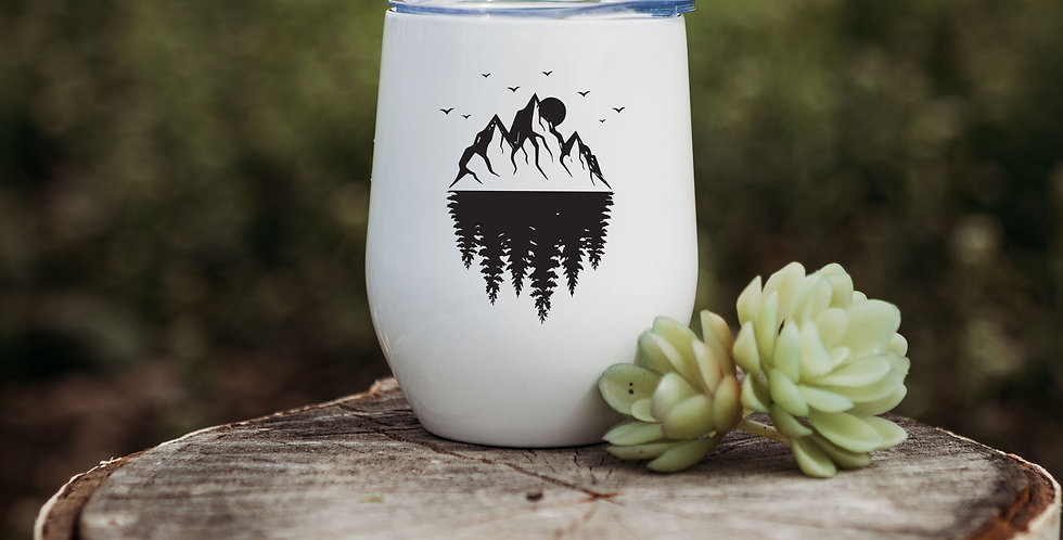 Mountain Tree Reflection Wine Tumbler