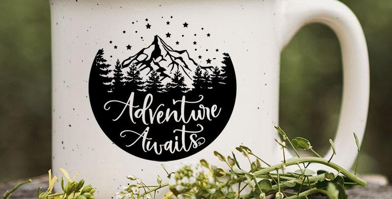 Adventure Awaits Night Speckled Campfire Mug