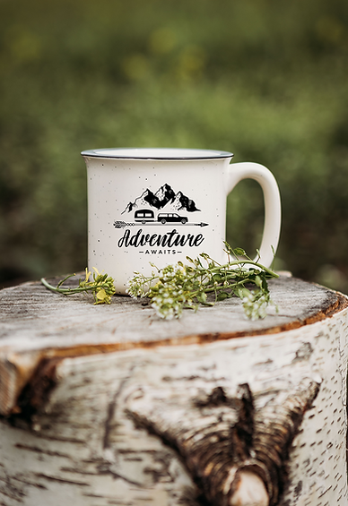 ceramic speckled mug adventure awaits mt