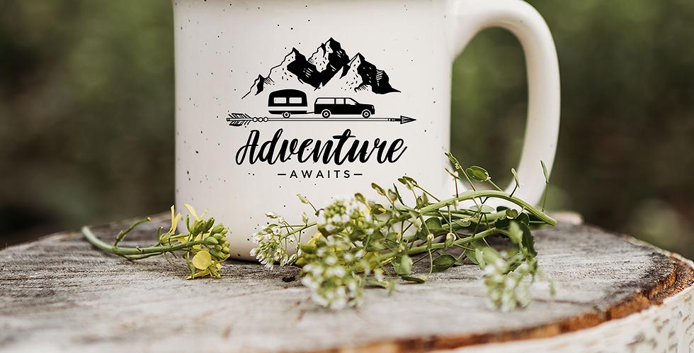 Adventure Awaits Speckled Campfire Mug
