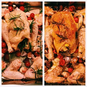 Garlic & Lemon Roasted Chicken with Tomatoes and Red Onion
