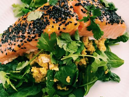White Miso Salmon with Cauliflower Rice, Spinach & Ginger