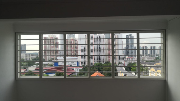 Colored Coated Sliding Window with Horizontal Grille (6 Panels)