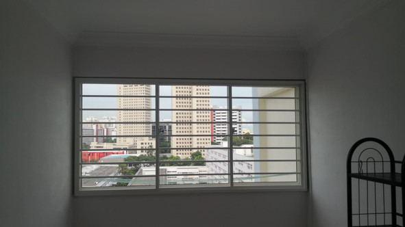Colored Coated Sliding Window with Horizontal Grille (3 Panels)