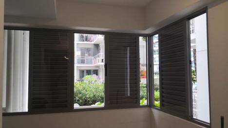 Sliding Louvered Window c/w PVC Coverage