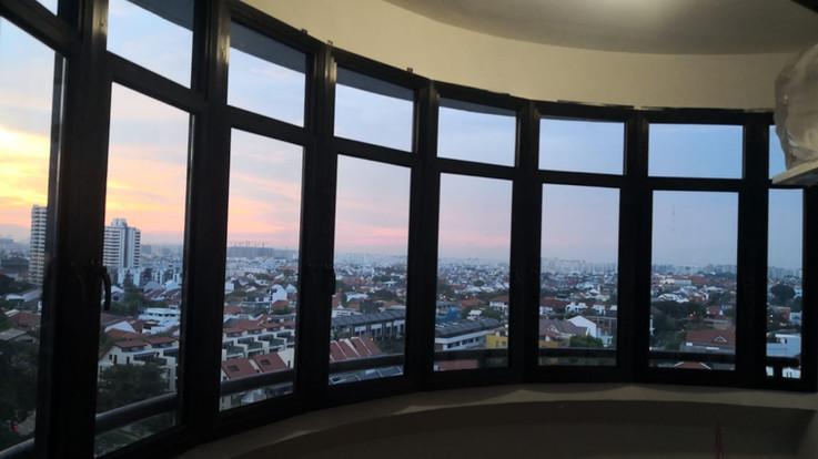 Semi-Curved Black Anodized Casement Window c/w Fixed Panel @ Balcony