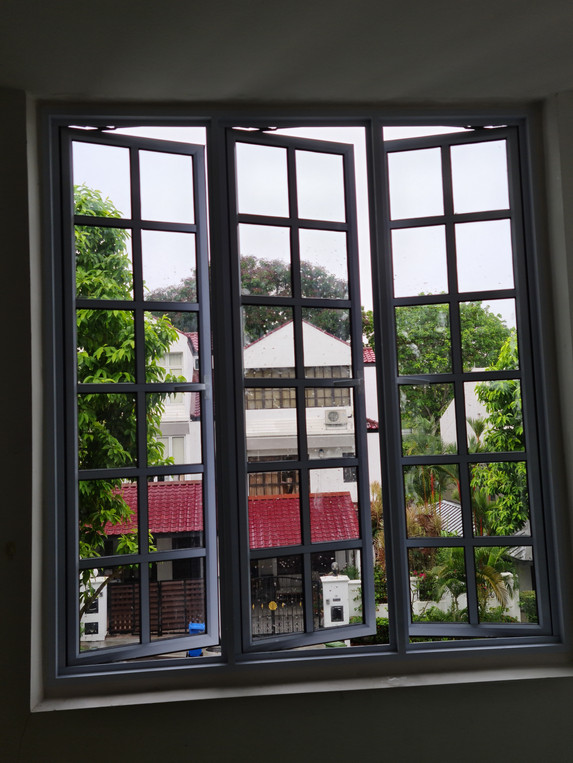 White Powder Coated Lattice Casement Window