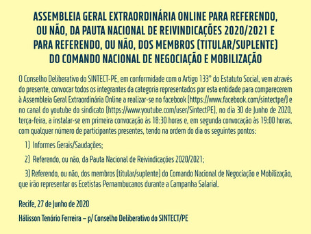 SINTECT-PE irá realizar Assembleia Online nesta terça-feira. Acesse também a Pauta Nacional 2020