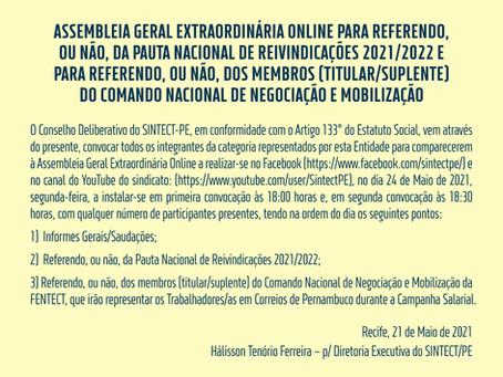 Edital de convocação: ASSEMBLEIA GERAL EXTRAORDINÁRIA ONLINE