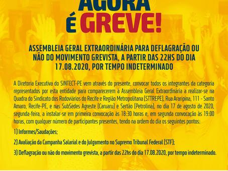 Assembleia para deflagração ou não do movimento grevista no dia 17 de agosto
