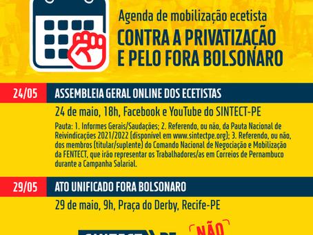 Agenda de mobilização ecetista contra a privatização e pelo fora Bolsonaro