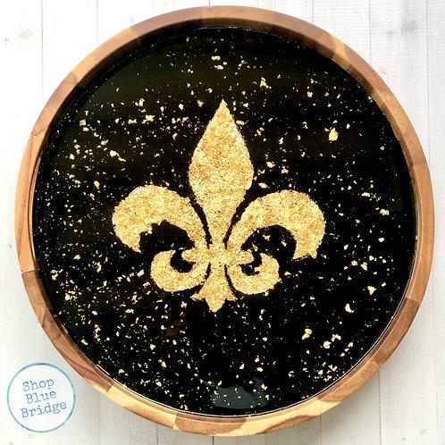 The Fleur De Lis Foil - Round Wooden Serving Trey