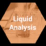 Orange transparent hexagon with lab beaker and liquid analysis