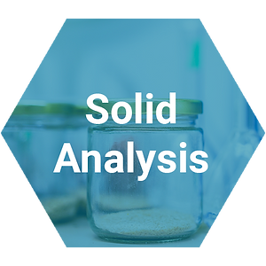 Blue transparent hexagon with lab glass container and solid analysis