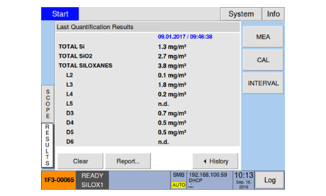 Touchscreen Interface of Siloxane Monitoring System