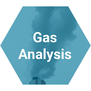 Blue transparent hexagon with smoke stack and gas analysis
