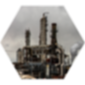 Refinery plant in hexagon shape