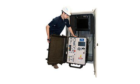 Service Technician Installing 915J Mercury Monitor