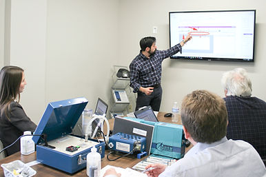 Male engineer performing training course using prompter