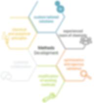 Hexagonal infographic about methods development