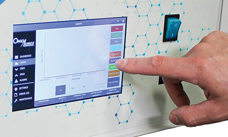 Ei Analyzer with Hand Touching IntelliSense Screen