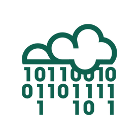 An icon of a binary code falling from a raincloud, representing accessibility metadata.