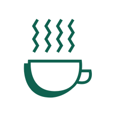 An icon of a cup of coffee representing Martin's lunch choice.