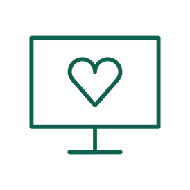 An icon features a computer monitor displaying a heart shape and represents inclusive design.