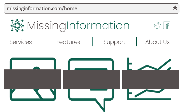 Website wireframe for a fictious website named, Missing Information. The image contains three images which are censored by thick grey blocks.