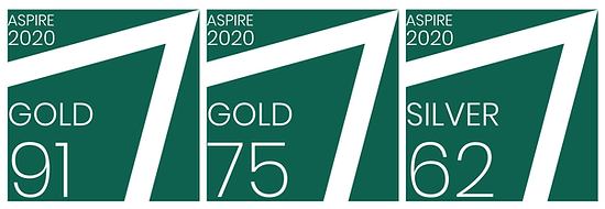 A selection of ASPIRE badges.