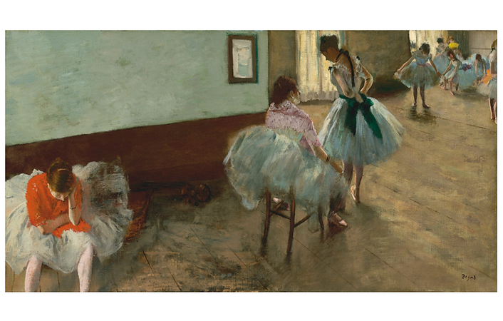 ​An oil painting by Degas depicts ballerinas preparing for rehearsal.