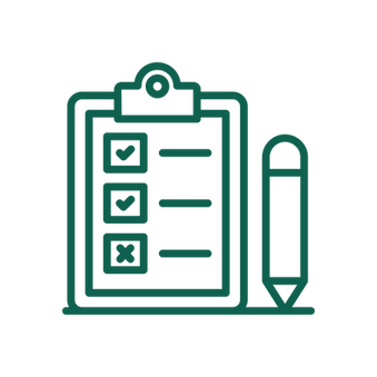 An icon of a clipboard and pencil, representing a survey.