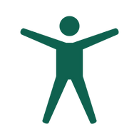 An icon of a stick figure with arms raised, representing accessibility.