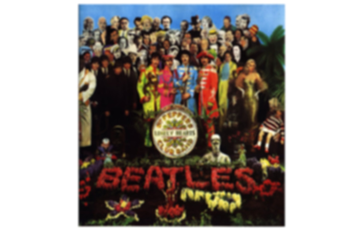 ​The album cover of Sergeant Pepper's Lonely Hearts Club Band by the Beatles. The cover is an elaborate collage by the artist, Peter Blake. The collage depicts the four Beatles in colorful military style uniforms surrounded by the images of 58 iconic people such as Bob Dylan, Karl Marx, Marlene Dietrich and Oscar Wilde. In the foreground the name of the album is printed on a drum and a flowerbed features the name of the band in bright red flowers.