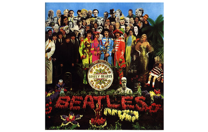 The album cover of Sergeant Pepper's Lonely Hearts Club Band by the Beatles. The cover is an elaborate collage by the artist, Peter Blake. The collage depicts the four Beatles in colorful military style uniforms surrounded by the images of 58 iconic people such as Bob Dylan, Karl Marx, Marlene Dietrich and Oscar Wilde. In the foreground the name of the album is printed on a drum and a flowerbed features the name of the band in bright red flowers.