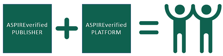 An image represents compatibility. ASPIREverified publisher plus ASPIE verified platform equals two happy figures.