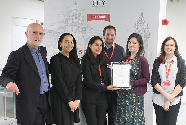 From left to right: Alistair McNaught, Tash Edmonds (ProQuest), Jessica Wykes, James Atkinson, Anne Watson and Dita Krauz (City)