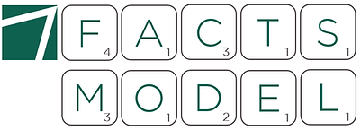 A logo for the FACTS model shows each letter of the FACTS and model as a Scrabble tile with a value.