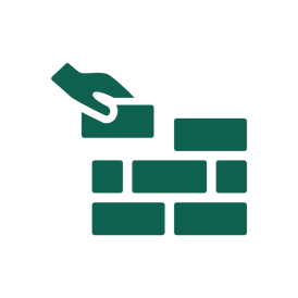 An icon of a brick being placed in a wall by a hand, representing the foundations of the digital workflow.