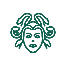An icon of Medusa with snakes writing on her head.