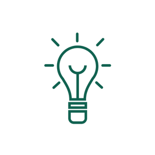 An icon of a lightbulb representing ideas.