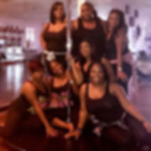 Dallas women having a pole dance party fo a friend's birthday celebration. Private dance studio rental, beignner pole dance lesson, groupon rate