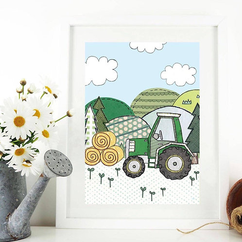 3 x Tractor A4 Art Print