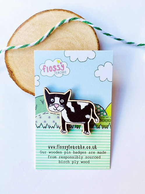 Cat Wooden Pin Badge