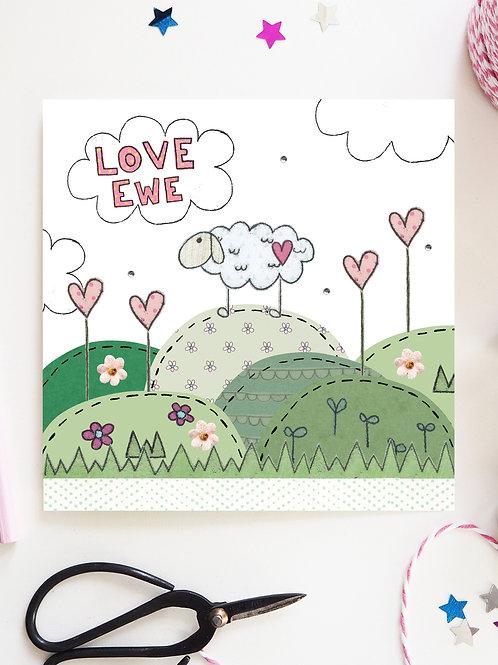 3 x Love Ewe Card