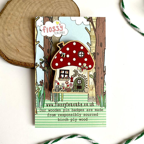 3 x Toadstool House Wooden Pin Badge