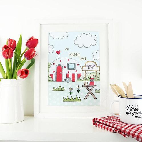 """Oh Happy Days"" Caravan A4 Art Print"
